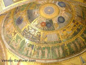 Middle ages art in Venice, Italy .Basilica di San Marco dome