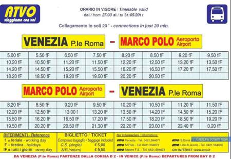 venice airport timetable