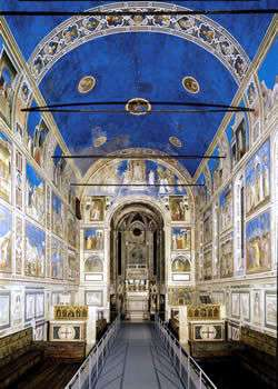 Middle ages art in Italy. The Scrovegni Chapel in Padua, Veneto