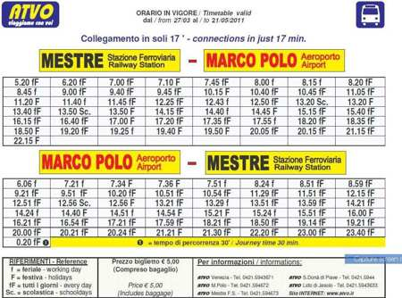 mestre airport timetable